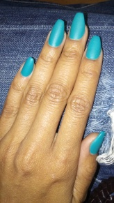 NailMUA: Matte Blue Green Coffin Acrylic Nails