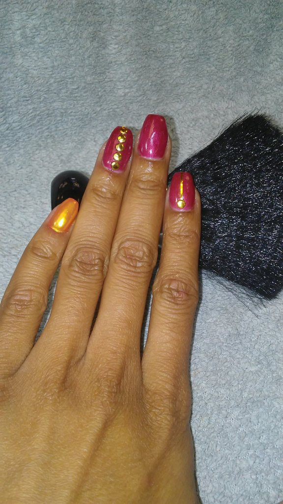 NailMua: Red Orange Gold Chrome