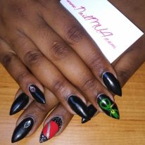 NailMua:Matte Black Stiletto