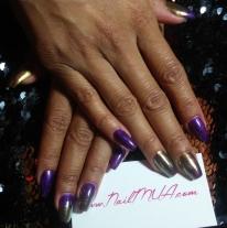 Purple Hard Gel Overlay with Gold Chrome $90