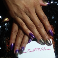 Purple Hard Gel Overlay with Gold Chrome $90