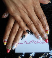 Medium Coffin Back To School Nail Art $90