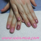 Pink Gel Polish with Glitter Accent Nail $60