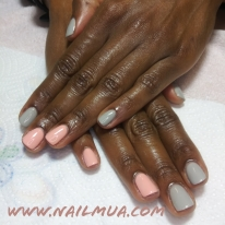 Grey + Pink Gel Manicure $40