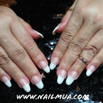 Pink and White Overlay over natural nails.