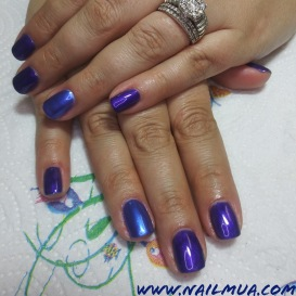 Purple + Unicorn Chrome Gel Manicure $50