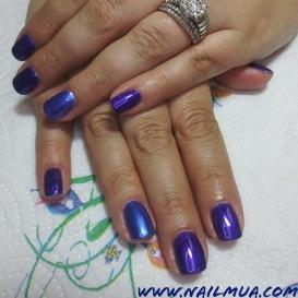 Purple + Unicorn Chrome Gel Manicure $50