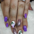 Short Coffin Fullset + Flower Nailart $60