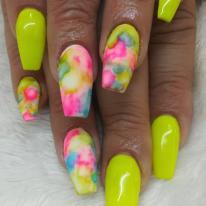 Neon Fullset + Marble Nailart $90