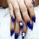 Stilleto Fullset + Dallas Cowboys Nailart $75