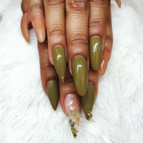 Long Encapsulated Gold Flakes + Nail Jewlery $85